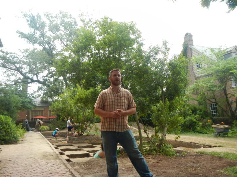 Mark Kostro, Archaeologist at CW and instructor of William and Mary's field school, gave us a site tour of the Bray School site.