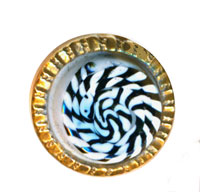"Similar glass-swirled ""Jewel"" waistcoat button in white and black swirl"
